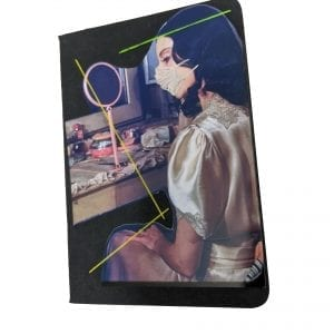 Embroidery art on small black notebook, collage of woman at dressing table in face mask