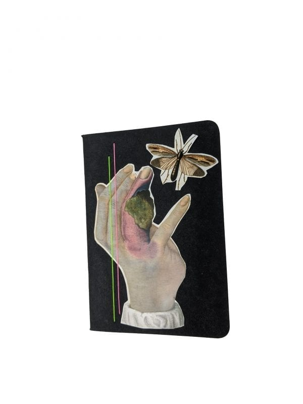 Embroidery art on small black notebook, collage of infected hand releasing flying bug