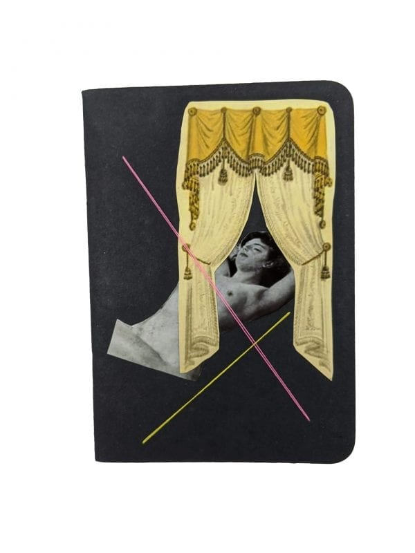 Embroidery art on small black notebook, collage of curtains and nude woman