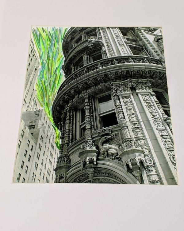 Embroidery art on black and white photo, green lines coming from street between buildings