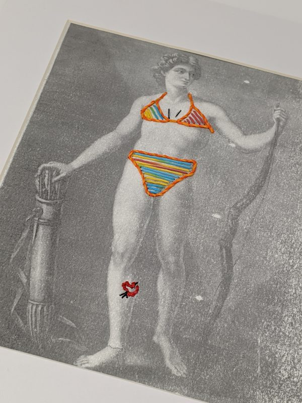 Embroidery Art, threaded orange bikini on black and white drawing of a man