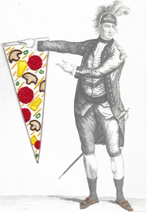 Embroidery art on black and white drawing of a general, threaded pepperoni and pineapple pizza