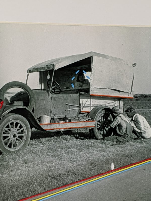 Embroidery Art, threaded lines on road of black and white photo of people fixing a car tire