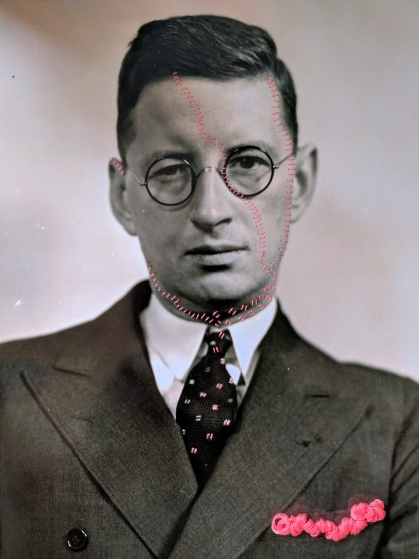 Embroidery art on black and white photo, threaded hot pink pocket and details on portrait of man in glasses