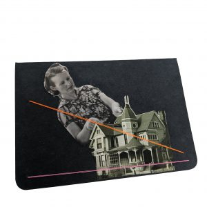 Pocket size black notebook with collage of woman cutting cake knife into small house
