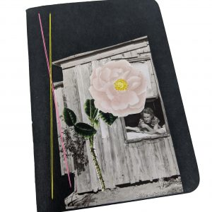 Pocket size black notebook with collage of photos and thread, woman looks out of window at oversized flower